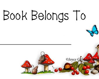 Bookplate, Book Stickers, Bird, Flowers, Butterfly, Toadstools, Mice Art, This Book Belongs To, Personal Library, Book Lover, Reading