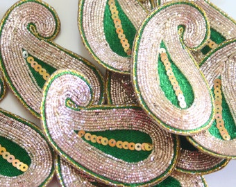 Golden Green Paisley - Applique paisley pair with zardosi gold embroidery (1 pair - 2 paisleys)