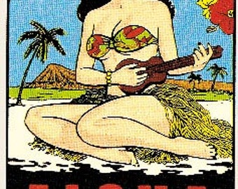 Vintage Style Aloha Hawaii Surfing Waikiki Beach  Ukulele Hula Girl  Travel Decal sticker