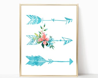Girl Tribal Nursery Print. Floral Arrows Art. Nursery Art. Teal Nursery Decor. Woodland Nursery Decor Girl. Teal Nursery. Floral Nursery Art