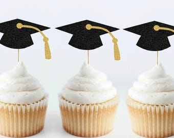 Set of 6 Graduation Cap Cupcake Toppers - Graduation Party Decorations - Graduation Cupcake Toppers - 2018 Grad Party - 2018 Graduation