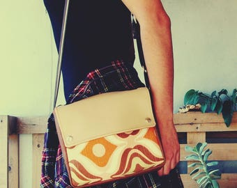 Groovy Messenger Bag, Handmade Personalized Shoulder Bag, Vintage, Seventies, Boho Vegan Bag, Leather Handbag Leather Shoulder Bag, UNUSUAL