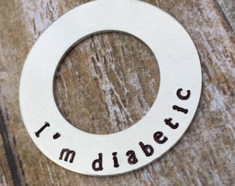 Medical Hand Stamped Diabetic Dog Tag