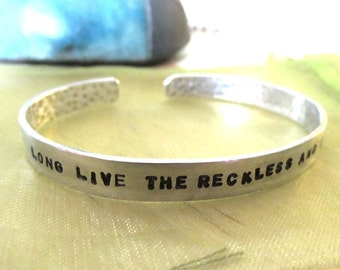 Long Live The Reckless and the Brave - All Time Low Lyric Bracelet - Hand StampedValentines