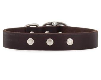 Dog Collar Leather, Dog Collar, Leather Collar, The DOLLAR COLLAR! Brown Leather Dog Collar, Made in USA, Leather Dog Collars, Handmade