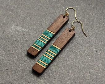 Wood Earrings, Lines Earrings, Laser Cut Wood Earrings, Custom Earrings, geometric Earrings, Wood dangle Earrings, Gifts for her under 50