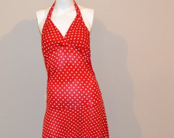 Vintage Dress Lipstick Red Polka Dot Halter Fit and Flare