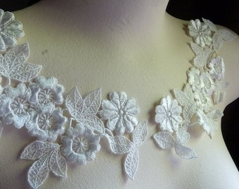 Ivory Cream Lace Applique Pair Dyeable in Venice Lace for Lyrical Dance, Bridal,  Jewelry or Costume Design PR 104