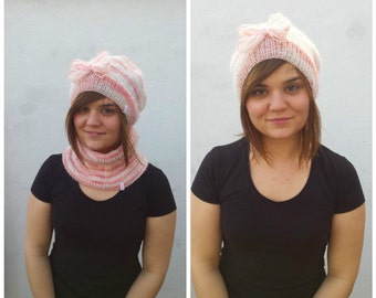 Pink and white wool and mohair set of cowl and slouchy hat, hat and cowl set, hat and scarf set, pink and white hat, wool hat, mohair cowl