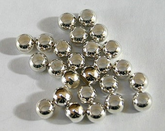 100pcs Metal Bead Silver Plated Brass Round 6mm