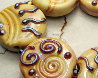 Lampwork Glass Bead Set Large Tabs, Cream Gold Yellow  Iridescent Tribal Jewelry Supply 'Aztec Summer'  SRA Now on Sale