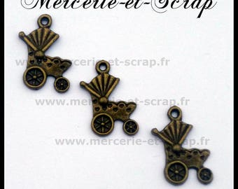 Lot 6 stroller baby carriage charm bead 12 * 20mm bronze pendant charms