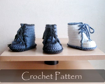 CROCHET PATTERN - Dr Martens Baby Booties Crochet Pattern Baby Booty Pattern Rock Baby Shoes Trendy Baby Boots 0-12 months PDF - P0032