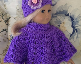 18 Inch Doll Clothes - Crocheted Poncho and Flowered Hat Set in Purple Grape made to fit the American Girl Doll - You Choose Flower