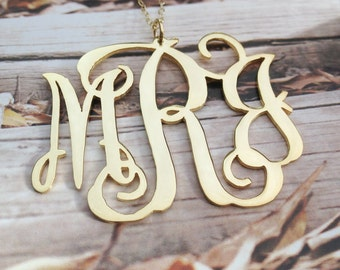 3 Initial Necklace Monogram Necklace-18k Gold Plated Personalized Necklace Christmas Gift-1.5 inch %100 Handmade