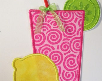 Custom Made Embroidered  Iron On Applique -Summer Lemonade Glass with Lemon and Lime