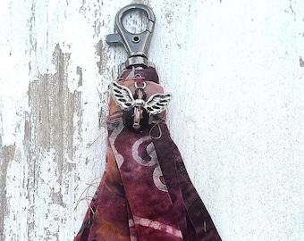 Zipper Pull Tassel/ Angel Charm Tassel/ Nine inches long/ Key Chain Tassel/ Handbag Tassel/  Cotton Batik Fabric