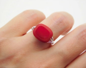 Ruby Red Ring, Red Ring, Red Matte Edge Glass Ring, Elegant Red Ring, Hot Red, Red Sexy Ring, Dark Red Jewelry Ring, Cocktail Rings. To Made