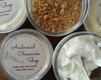 Three Individual portions of cheesecake made from handcrafted cheese. You choose original or a flavour