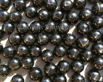 Black Star Diopside 8 mm Round Cabochons, Fine Quality. Top Smooth Polished with Base Unpolished. Priced by lot.