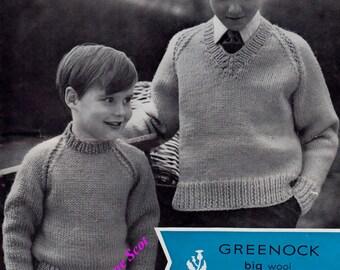 Boys Chunky / Bulky kint  Jumpers 2 neck styles  24 - 34 ins - Greenock 831 - PDF of Vintage Knitting Patterns