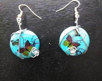 Wire Wrapped Blue Butterfly Earrings
