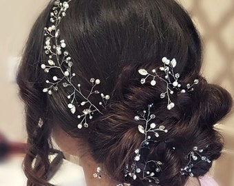 Hair vine wedding headband Wedding Headpiece long hair vine Bridal Headpiece Bridal Hair Accessory extra long Rhinestone and Pearl headband