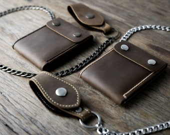 Chain Wallet - Wallet - Men's Leather Biker Wallet - Chain Wallets - Manly Man Wallets -- Listing# 035