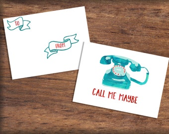Printable Old Fashioned Telephone Valentine's Day Card- INSTANT DOWNLOAD, Watercolor Call Me Maybe Valentine Print, Digital File