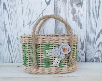 wicker bag with jute twine handles,bohho