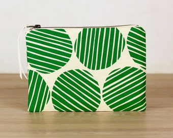 Emerald green stripe spot flat zip pouch off white- screen printed and handmade