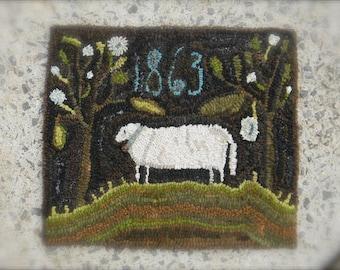 1863 Sheep Rug Hooking pattern - PDF - from Notforgotten Farm™