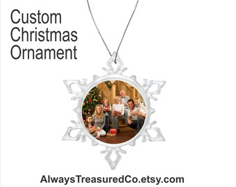 Custom Christmas Ornament - Snowflake - Clear Acrylic - Family Photo or Logo - Custom Message on Back #02