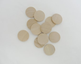 """100 wooden Circles, 1 inch wood disk, 1"""" wood disc 1/8"""" thick unfinished DIY"""