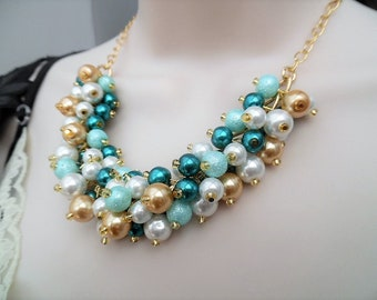 Teal Aqua White and Gold Bead Necklace, Bridesmaid Teal Wedding Jewelry, Pearl Beaded Necklace, Cluster Pearl Necklace, Bridesmaid Gifts