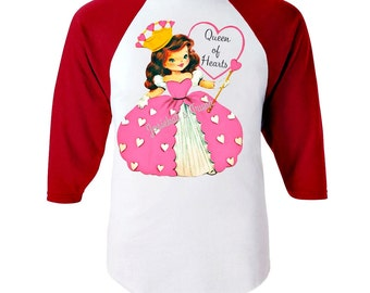 """Queen of Hearts Shirt - Valentine Girl Shirt - """"Queen of Hearts"""" Red White Baseball - Girl Valentine Toddler - Infant Retro Personalized"""