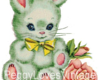 Green Bunny with Yellow Bow Digital Image from Vintage Greeting Cards - Instant Download
