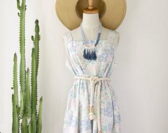 90s pastel dress. Soft grunge dress. Floral dress. Pink pastel dress. White floral dress. Size M - L