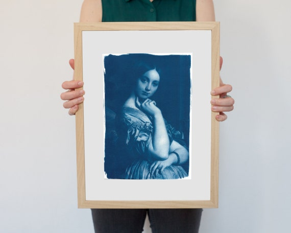 Ingres Portrait of Young Woman Painting, Cyanotype Print on Watercolor Paper, A4 size (Limited Edition)