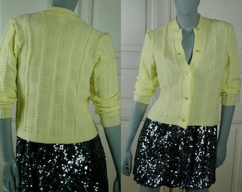 1970s Yellow Sweater, German Vintage Yellow Cardigan, Button-Down Knitted Sweater: Size 4 US, Size 8 UK