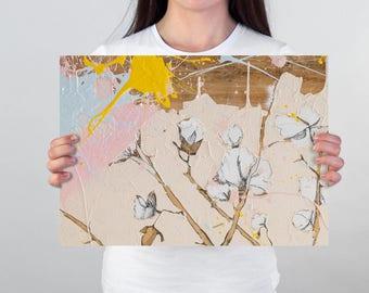 Botanical art Print, Blush pink decor, Botanical print set, botanical poster, cotton artwork, cotton illustration #903BO