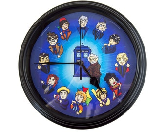 Dr. Who - The Twelve Doctors - Wall Clock - Dr Who Gift - Whovian - Dr Who Decor - Wall Art