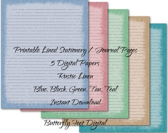 Printable Art Journal Pages, Lined Paper, Printable Stationery, 8x10, Antique Linen Texture, Instant Digital Download