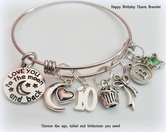 Birthday Bracelet for Girl Turning 10, Personalized Birthday Bracelet, 10 Year Old Birthday Charm Bracelet, Children's Birthday Gift Jewelry