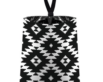 Car Trash Bag // Auto Trash Bag // Car Accessories // Car Litter Bag // Car Garbage Bag - Aztec Navajo Tribal Black White Serape Blanket