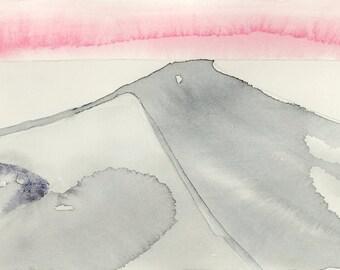 Watercolor landscape painting, abstract watercolor, original watercolor art, contemporary art, minimalist art, urban landscape, highway art