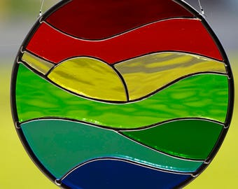 Stained glass sunset suncatcher, stain glass sunset sun catcher, glass sunset, sunset art, beach