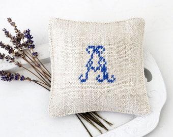 Lavender Sachet, Monogram A, Rustic Cross Stitched Grain Sack Drawer Sachet