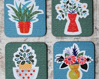 Coaster Set/ Houseplant & Floral Drinks Coasters