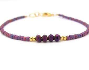 Carnival Bracelet, Purple Crystal Beads, Seed Bead Bracelet, Friendship Bracelet, Purple Bridesmaid, Minimal Bracelet, Hawaiian Jewelry